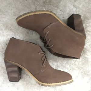Restricted Brown Faux Suede Booties 7.5